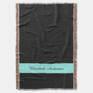 Modern Black Leopard Print Aqua Stripe With Name Throw Blanket