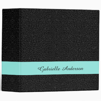Modern Black Leopard Print Aqua Stripe With Name Vinyl Binders