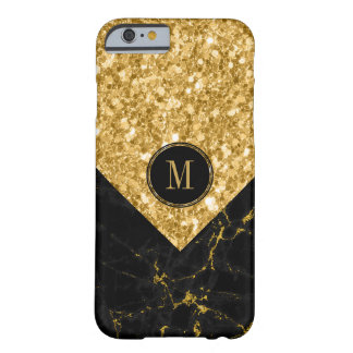 Modern Black Marble & Gold Glitter Modern Barely There iPhone 6 Case