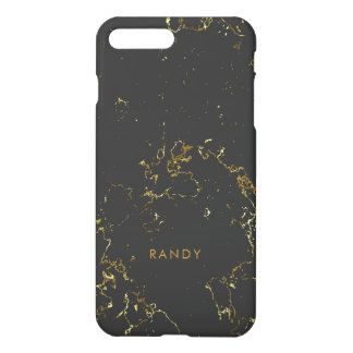 Modern Black Marble Stone Gold Accents iPhone 8 Plus/7 Plus Case