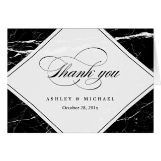 Modern Black Marble Texture Thank You Card