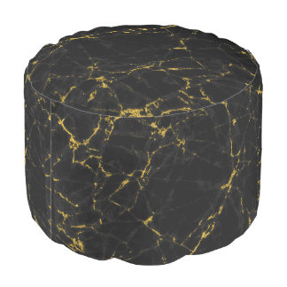 Modern Black Marble With Gold Glitter Accents Pouf