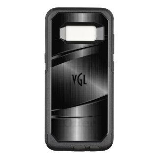 Modern Black Metallic Texture OtterBox Commuter Samsung Galaxy S8 Case
