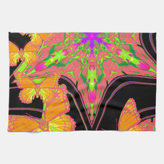 Modern Black Monarch Butterflies Art Design Hand Towels