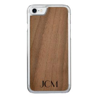 Modern Black Monogram Carved iPhone 7 Case