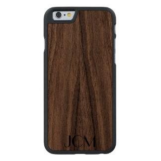 Modern Black Monogram Carved® Walnut iPhone 6 Slim Case