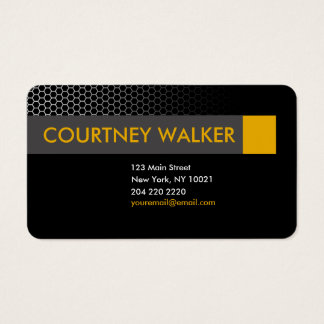Modern black & orange honeycomb business cards