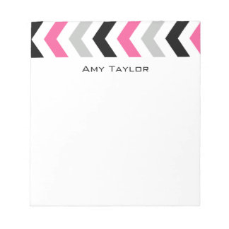 Modern Black Pink and Gray Chevron Notepad