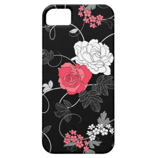 modern black pink white flower abstract design iPhone 5 cover