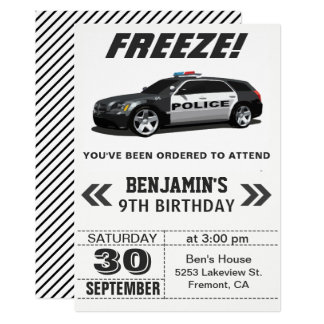 Modern Black Police Car Birthday Party Invitation
