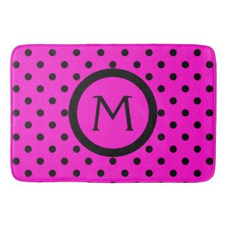 Modern Black Polka Dots on Pink Monogram Bath Mat