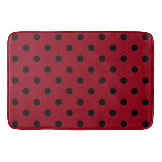 Modern Black Polka Dots on Red Bath Mat