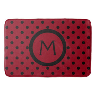 Modern Black Polka Dots on Red Monogram Bath Mat