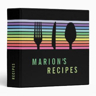 Modern Black Rainbow Cutlery Cooking Recipe Binder