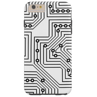 Modern Black Retro Computer Circuit Board Pattern Tough iPhone 6 Plus Case