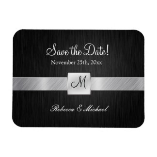 Modern Black & Silver with Monogram Save the Date Rectangular Photo Magnet