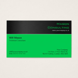 Modern Black Steel and Green Business Card