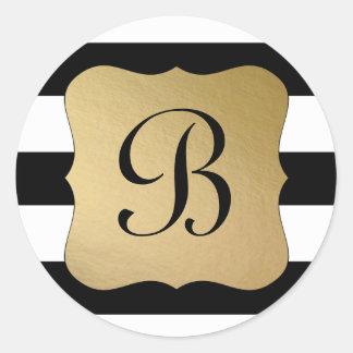 Modern Black Stripe, Gold Tag Initial Round Sticker
