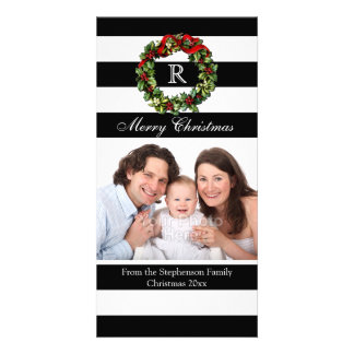 Modern Black Stripe Monogram Wreath Christmas Card