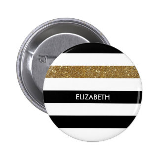 Modern Black Stripes FAUX Gold Glitz and Name 2 Inch Round Button
