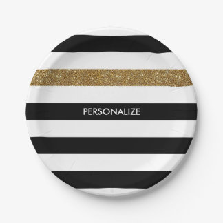 Modern Black Stripes FAUX Gold Glitz and Name 7 Inch Paper Plate