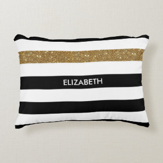 Modern Black Stripes FAUX Gold Glitz and Name Accent Pillow