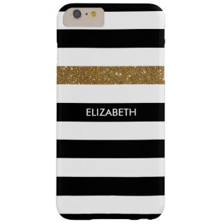 Modern Black Stripes FAUX Gold Glitz and Name Barely There iPhone 6 Plus Case