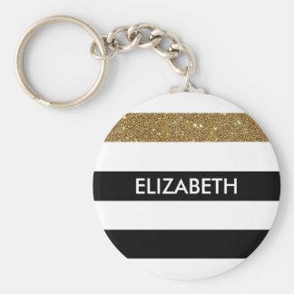Modern Black Stripes FAUX Gold Glitz and Name Basic Round Button Keychain