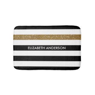 Modern Black Stripes FAUX Gold Glitz and Name Bath Mat