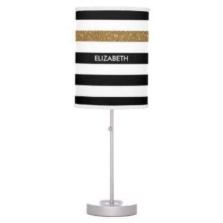 Modern Black Stripes FAUX Gold Glitz and Name Desk Lamps