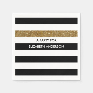 Modern Black Stripes FAUX Gold Glitz and Name Disposable Napkins