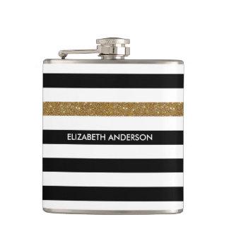 Modern Black Stripes FAUX Gold Glitz and Name Flask