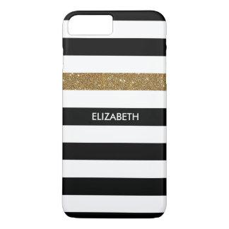 Modern Black Stripes FAUX Gold Glitz and Name iPhone 8 Plus/7 Plus Case