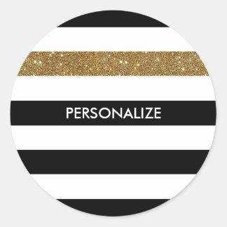 Modern Black Stripes FAUX Gold Glitz and Name Round Sticker
