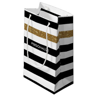 Modern Black Stripes FAUX Gold Glitz and Name Small Gift Bag