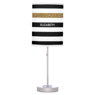 Modern Black Stripes FAUX Gold Glitz and Name Table Lamp
