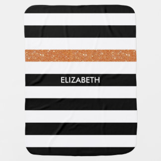 Modern Black Stripes FAUX Orange Glitz and Name Baby Blanket