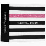 Modern Black Stripes FAUX Pink Glitz and Name Binders