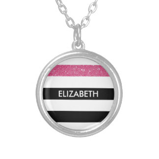 Modern Black Stripes FAUX Pink Glitz and Name Round Pendant Necklace
