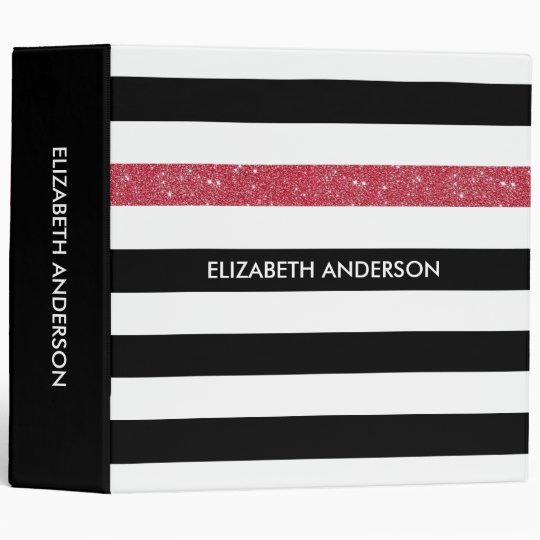 Modern Black Stripes FAUX Red Glitz and Name Binders