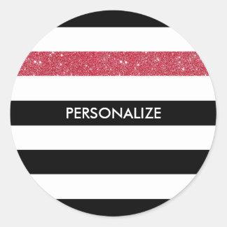 Modern Black Stripes FAUX Red Glitz and Name Classic Round Sticker