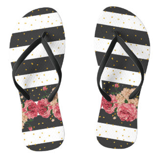 Modern black stripes gold faux glitter floral flip flops