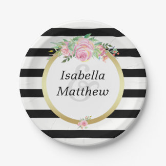 Modern Black Stripes Gold Floral Wedding Party Paper Plate