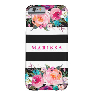 Modern Black Stripes Pink Roses Floral Watercolor Barely There iPhone 6 Case