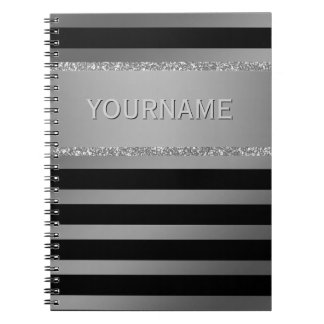Modern Black Stripes Silver Glitter Personalized Notebooks