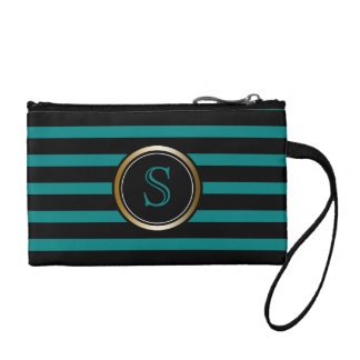 Modern Black Teal Stripes Gold Monogram Girly Coin Purse