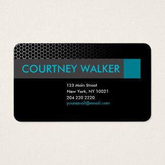Modern black & turquoise honeycomb business cards