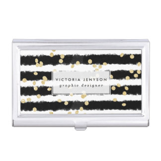 Modern black watercolor stripes chic gold confetti business card holder
