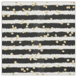 Modern black watercolor stripes chic gold confetti fabric