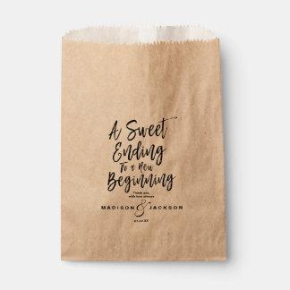 Modern Black Wedding a Sweet Ending Favour Bag
